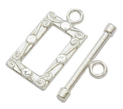 Rectangle Silver Toggle Clasp (2)